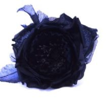 Navy Vintage Silk Cup Rose